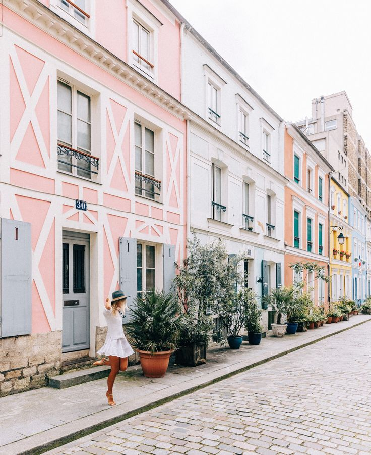 a pastel street scene