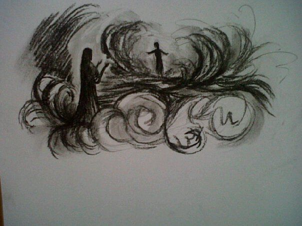 New Realms Prophetic charcoal artwork by Dion James Raath
