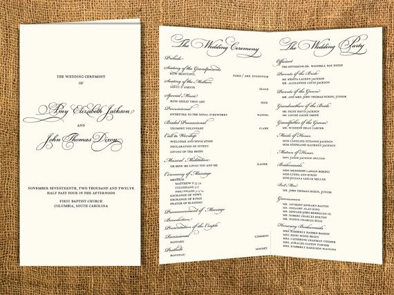 Best Wedding Program Images On   Wedding Programs