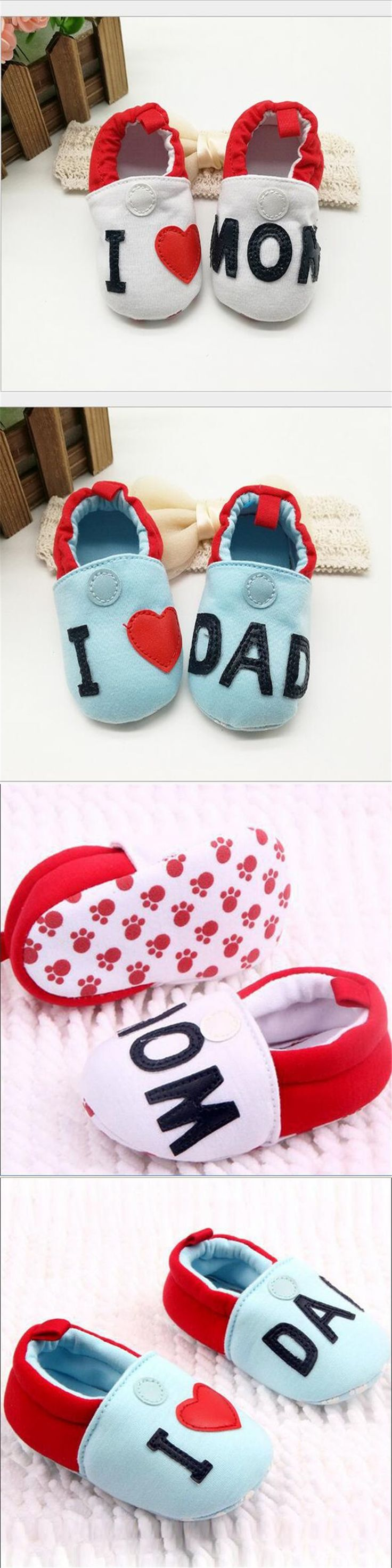 Cute Toddler First Walkers Baby shoes Round Toe Flats Soft Slippers Shoes I Love MOM/DAD Fast Shipping C10