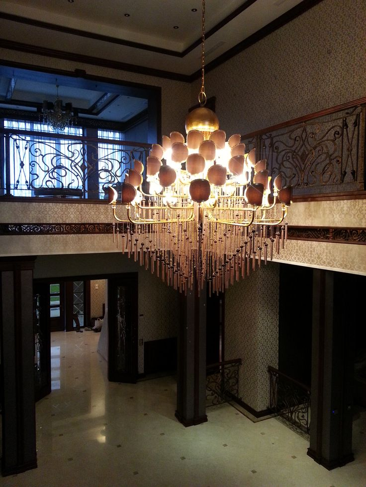 Customized Chandelier for entrance Wrought iron in Antique Silver Leaf Decoration  Metal tassels with strass Metal Shades decorated embellished with Swarovski Crystals ®