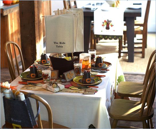 Creating a Fun-Filled Thanksgiving Table from Pottery Barn Kids ~ includes a party plan, recipes and craft tutorials