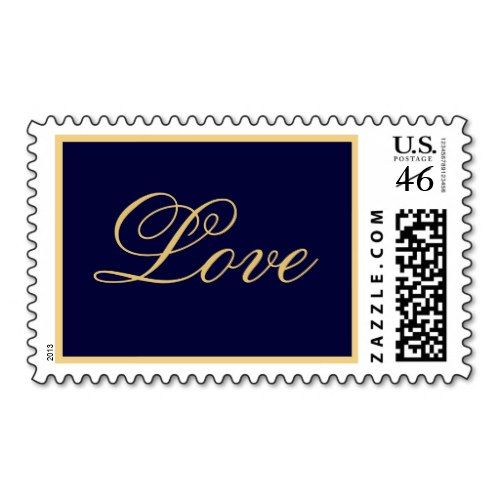 navy and gold wedding | Navy Themed Wedding Postage Stamps | Perfect PostagePerfect Postage