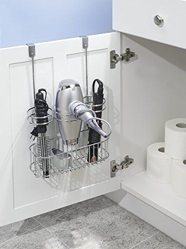 A must-have for bathroom cabinet organization to store your hair dryers, flat irons and styling tools!