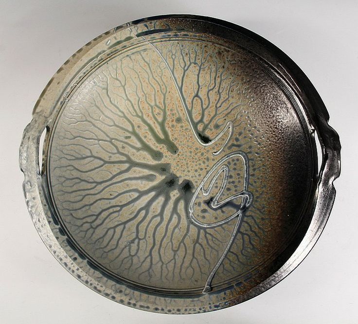 richard aerni pottery | CONTEMPORARY ART POTTERY CHARGER - Large Two Handled Deep Stoneware ...