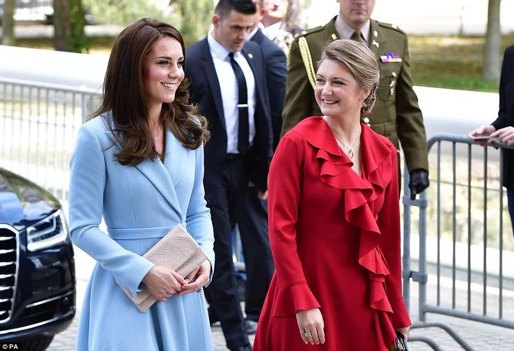 Kate looked delighted to be accompanied by her royal counterpart Crown Princess Stephanie