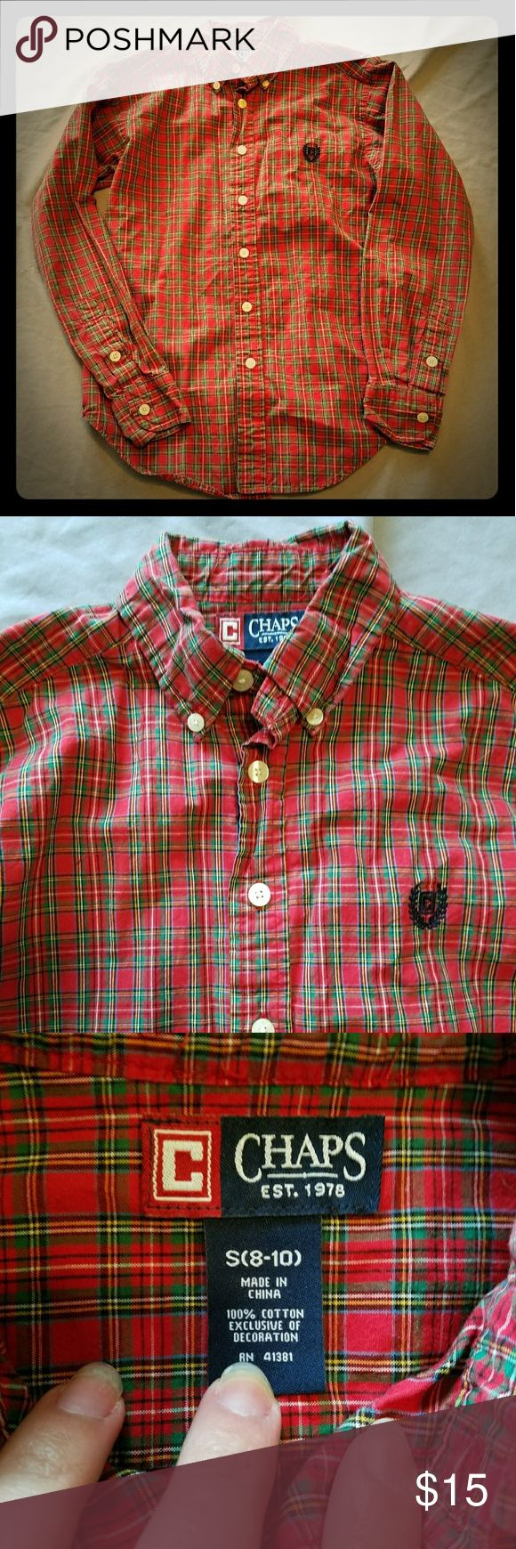 Boys Chaps Ralph Lauren buttonup plaid 8/10 Just washed but never worn.  My son hates buttonups. Size 8/10.  Chaps brand. Just needs ironed and its ready to go. Discounts on bundles  Feel free to make a reasonable offer Chaps Shirts & Tops Button Down Shirts