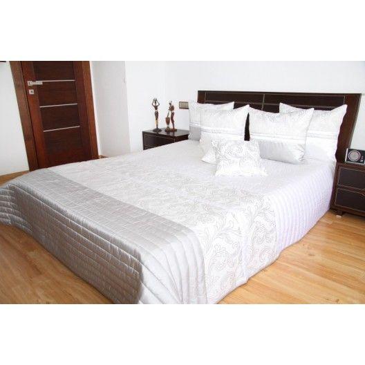 Přehoz na postel v elegantní bílé barvě s prošívaným vzorem - dumdekorace.cz