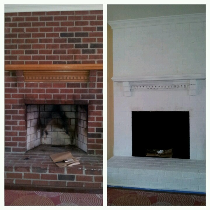 Before and after diy fireplace brick paint white diy and for Diy brick projects