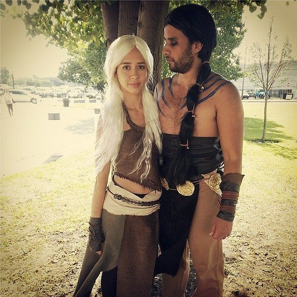 Khaleesi and Drogo. What you need to do: For the girls, get brown fabric and fasten it however you want. If you're not a natural blonde, either dye your hair or get a blond wig. For the guys, rub on some dark eye shadow and draw fake tattoos. Wear the same brown fabric complete with a golden coin belt. Source: Instagram user ricardocosta012