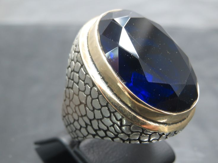 Turkish Handmade Ottoman Style 925 Sterling Silver Sapphire Men's Ring by TolsanJewelry on Etsy