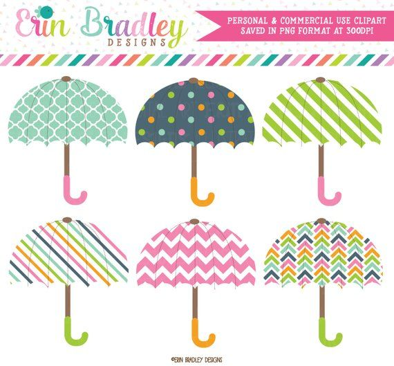 bdccba9f1 Umbrellas Clipart Graphics Digital Girls Baby or Bridal Shower Clip Art  Personal & Commercial Use Instant Download