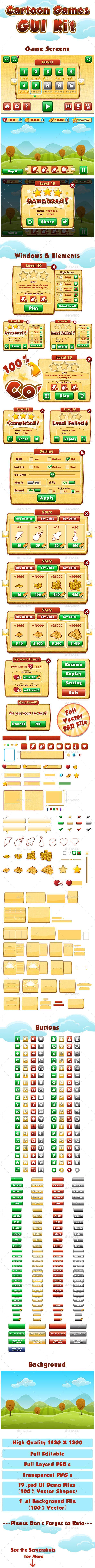 Cartoon Games GUI Kit PSD, AI Illustrator. Download here…