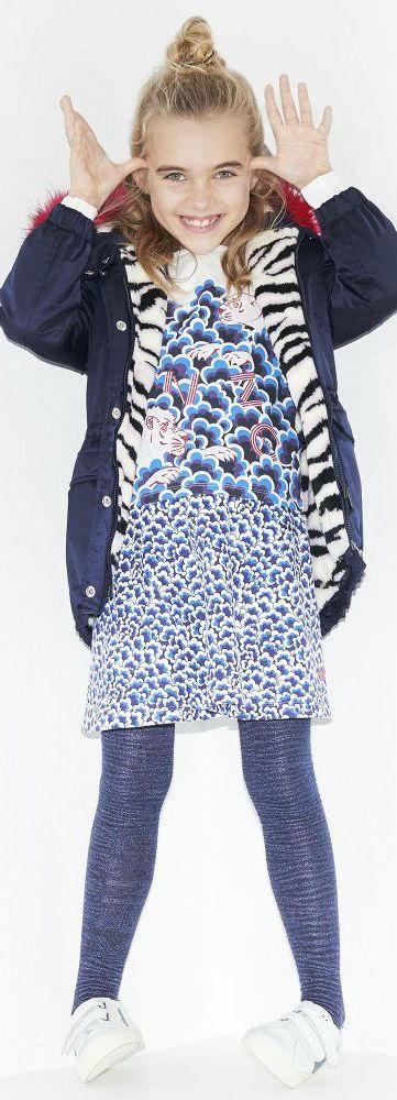 KENZO KIDS Girls Blue Tiger Coat, Popcorn Tiger Skirt & Shirt. Shop Now.