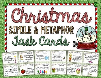 {FREE} Christmas Simile and Metaphor Task Cards!