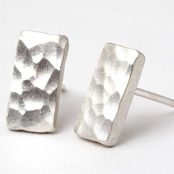 small hammered sterling silver stud earrings by tlk   notonthehighstreet.com