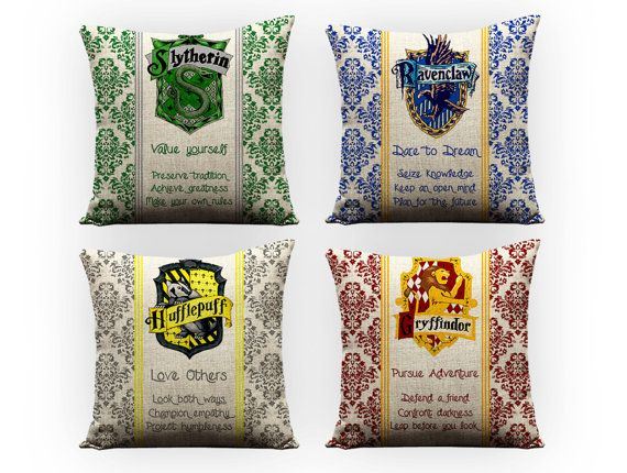 Harry Potter throw pillows - GEEKandtheCHIC on Etsy  I really want these pillows. But I can't justify $95 on a set of pillows...