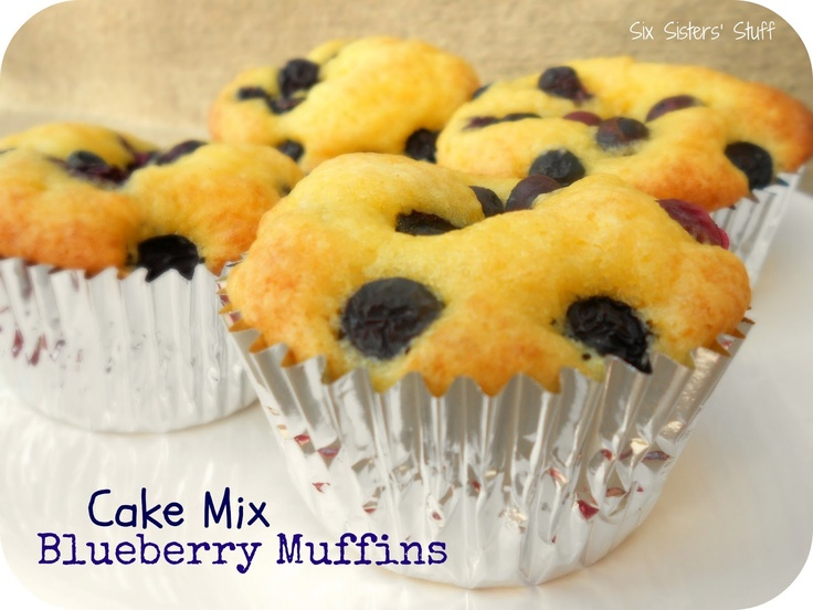 Moist muffins from a cake mix.  I used this as a base recipe - but made banana nut with a sugar free cake mix.  They're yummy.Breakfast, Cake Mixes, Moist Muffins, Blueberries Muffins, Delicious, Muffins Recipe, Six Sisters Stuff, Blueberries Cake Mixed Muffins, Fresh Blueberries