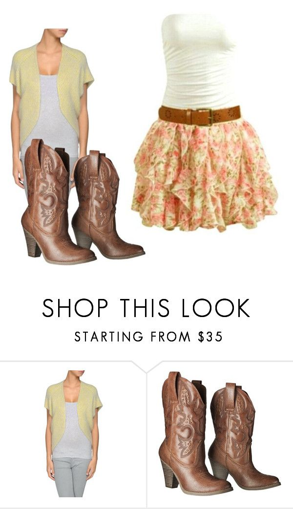 """Yellow cardigan, country girl dress, and classic cow girl boots"" by acoley ❤…"