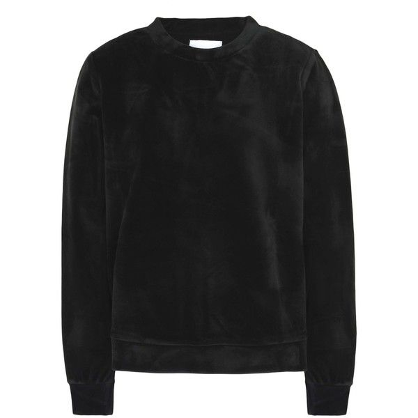Samsøe Φ Samsøe Sweatshirt (8.295 RUB) ❤ liked on Polyvore featuring tops, hoodies, sweatshirts, black, velvet top, stretchy long sleeve tops, long sleeve sweatshirts, long sleeve stretch top and long sleeve tops