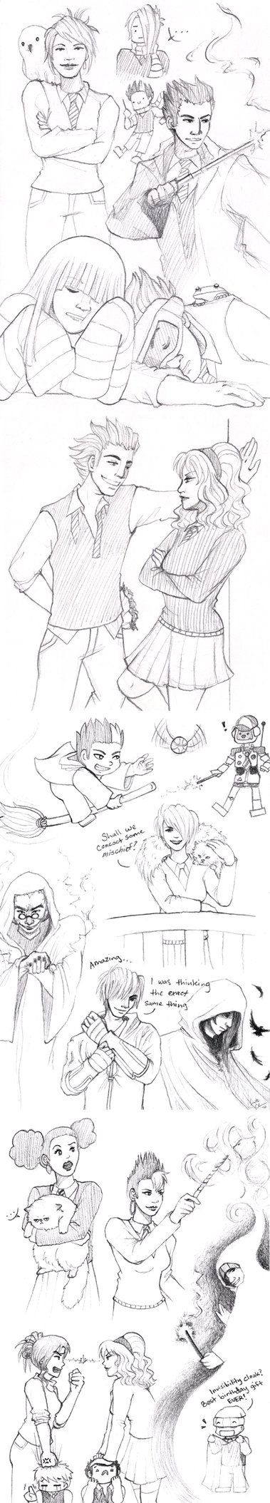 Continuation of DC/Harry Potter doodles =w= Dance Central © Harmonix Harry Potter © J.K. Rowling
