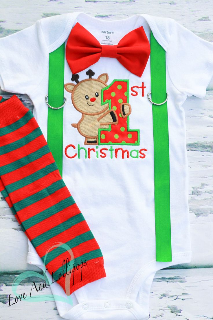 My 1st Christmas Baby Boy onesie, Reindeer Christmas onesie, Matching Bow tie and suspender set, Boy Christmas outfit, Red Green Leg Warmers by LoveAndLollipopsBaby on Etsy
