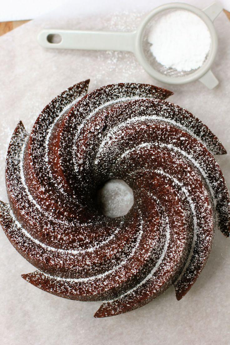 Beautiful cocoa bundt cake.