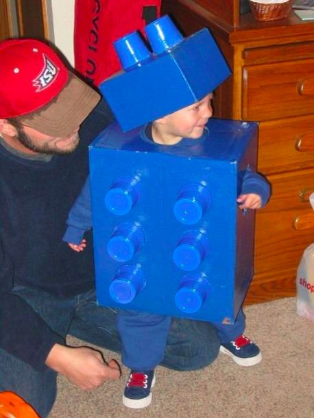 Cute cheap kid costume.  A couple boxes, some solo cups and blue spray paint.