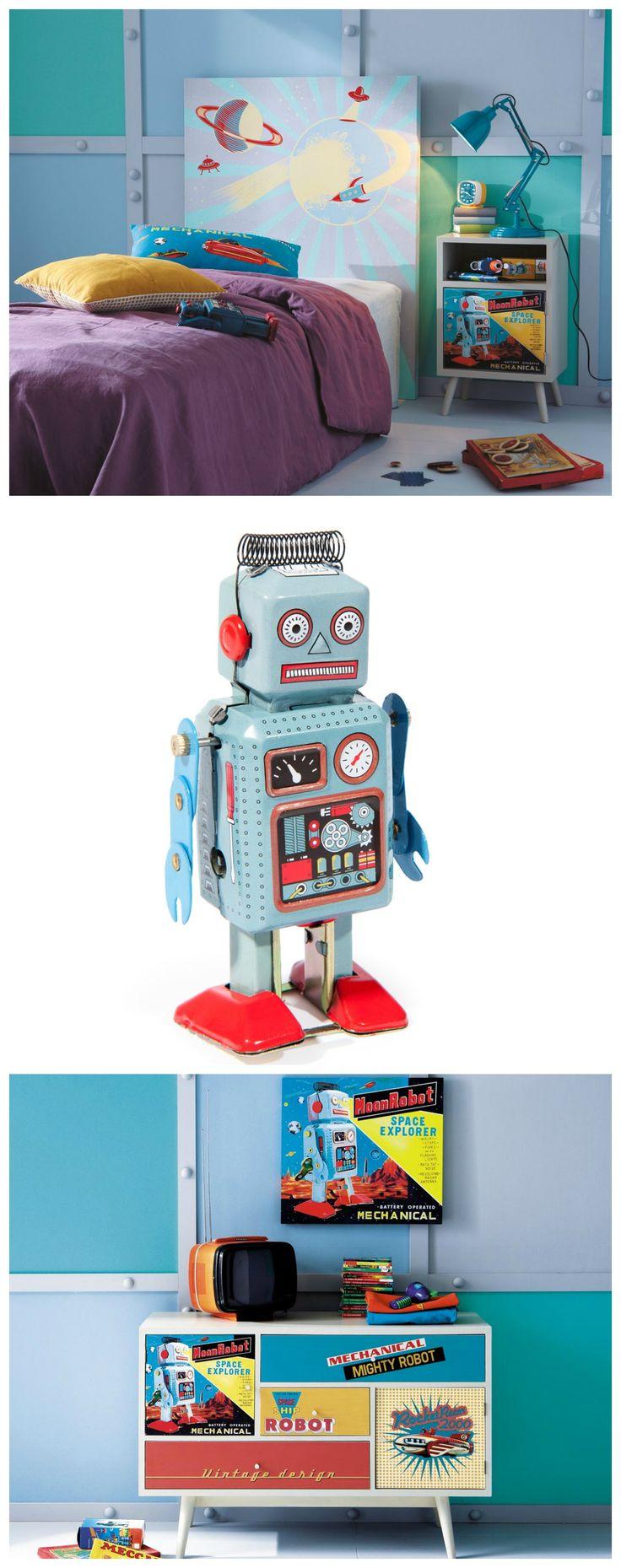 Déco chambre enfant - Thème robot/vintage