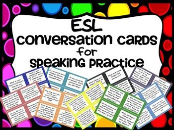 These are 72 conversation cards for your ESL classroom.  They can be used as a warm up activity and are a great way to get students settled in at the beginning of class.  In addition, they can also be used as writing prompts.  Each topic is color coded.