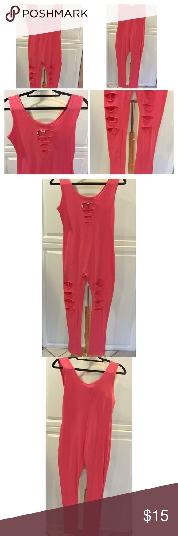 Coral jumpsuit Slip on jumpsuit with cut out front & pant legs.  Available in medium & XL (one of each left). NWT Priced low & firm. Please msg. me & indicate your size. Pants Jumpsuits & Rompers