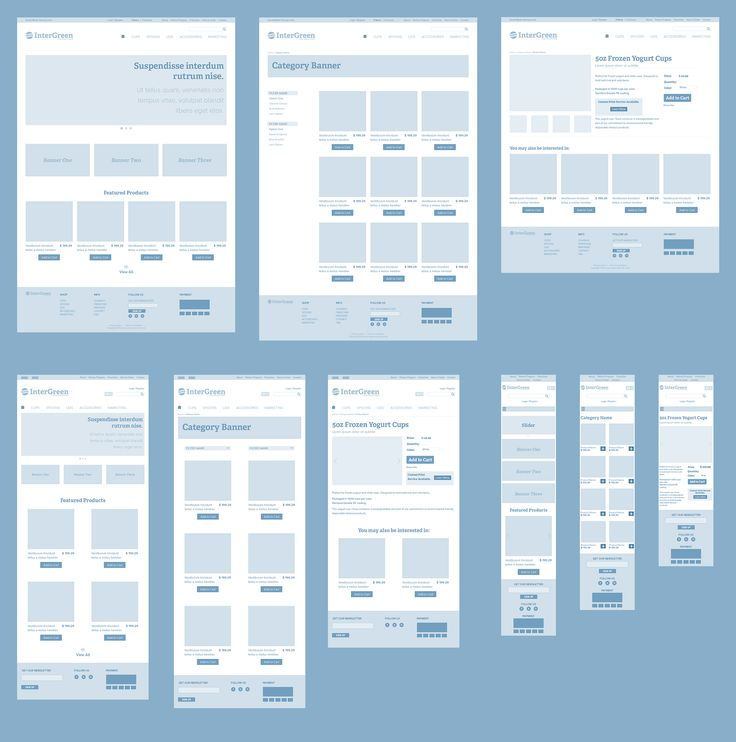 Responsive Wireframes - high-level example of how a page reflows according to screen size. Example is a typical ecommerce site.