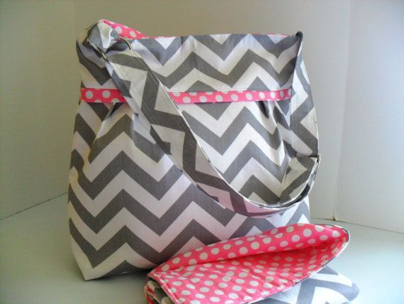 Large Diaper Bag Set Made of Chevron and Pink  by fromnancy, $95.00