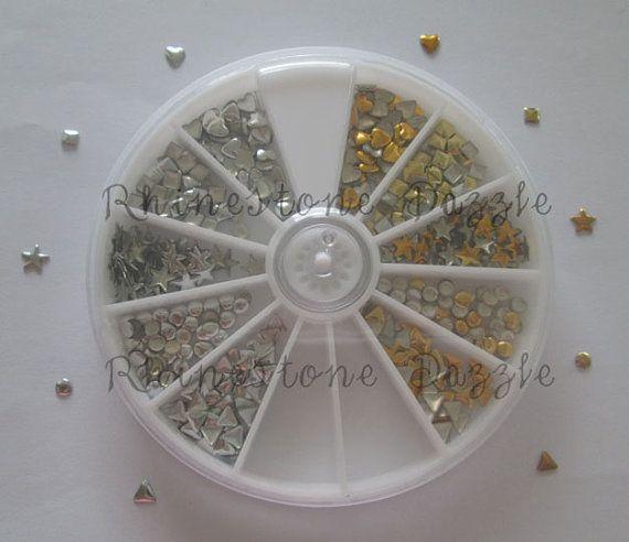 1000pcs 3mm Nail Studs Gold & Silver combo wheel, DIY Nail Art, 3D Nail Design