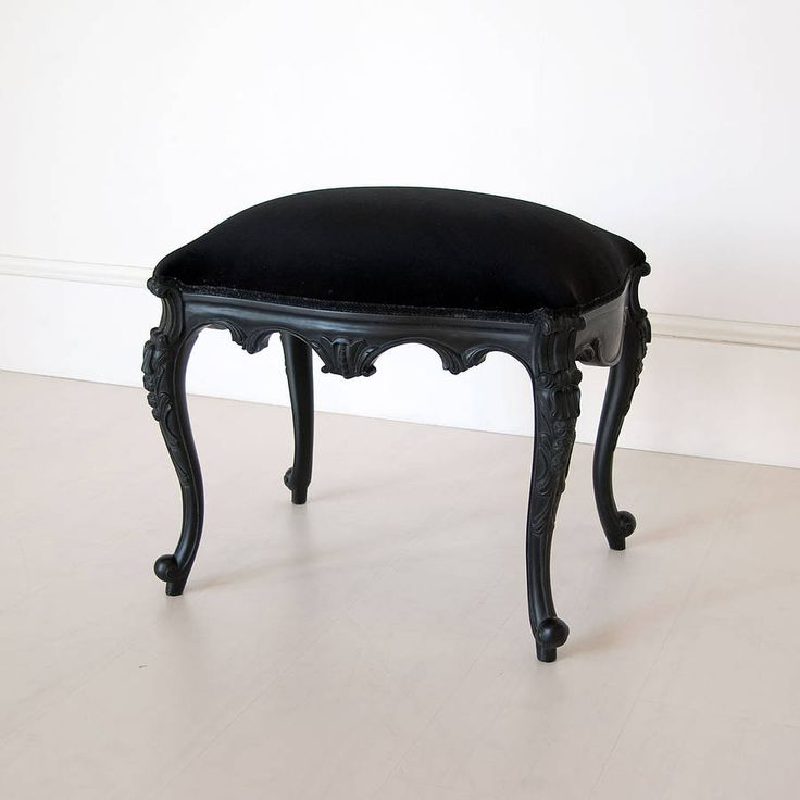Black French Dressing Table Stool