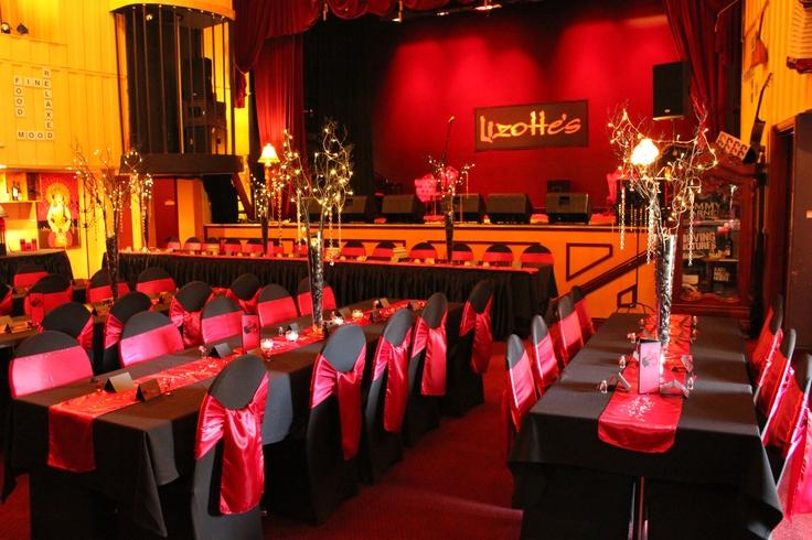 #wedding #weddingreception #black #red #satinsash #satinrunner #sashes #chaircovers
