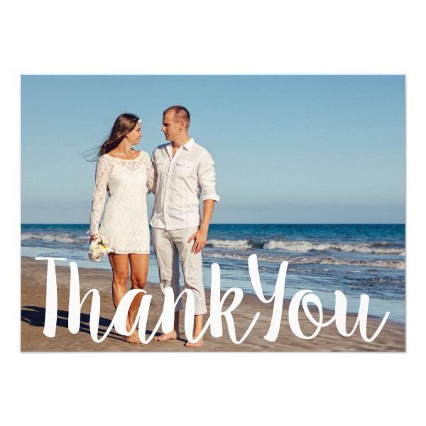 Ombre Beach Destination Ocean Wedding Thank You Card Customizable Invitations #beach #summer #wedding #invitation