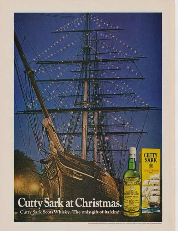 1972 Cutty Sark Scotch Whisky Vintage Retro Pub Wall Art Decor
