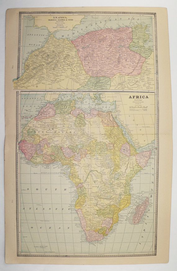 Map Of Africa And Asia%0A      Antique Africa Map  South Africa  NW Africa  Egypt Map  Africa Gift  for Couple   st Anniversary gift  Vintage African Decor Wall Map