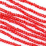 Crystal 2x2mm Opaque Chinese Red Faceted Rondelle Beads - 16 inch strand
