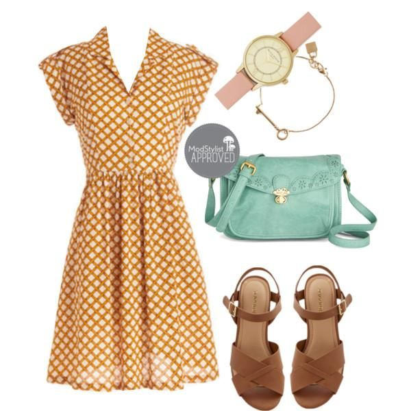 A shirt dress is one of those classic effortless garments you can throw on with confidence. A neutral sandal and pastel accessories top off the ensemble!