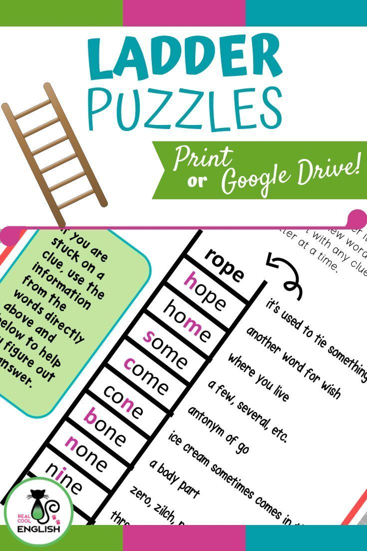 These 12 fun word guessing puzzles help with vocabulary and spelling  skills. Stu...   Word ladders [ 1102 x 735 Pixel ]