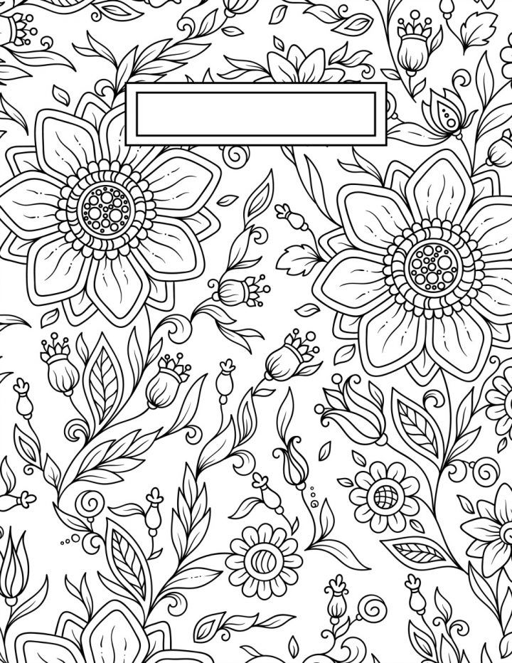 Back to School Binder Cover Adult Coloring Pages DIY Wall Art