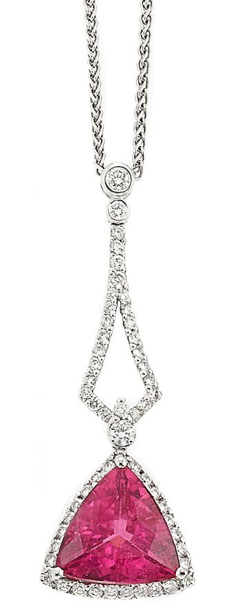 White Gold, Pink Tourmaline & Diamond Pendant with Chain: one triangle-shaped pink tourmaline ap. 4.00 cts.