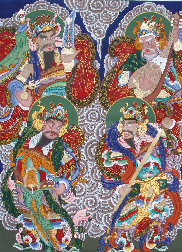 사천왕  Four Guardian Kings - originally associated with Buddhism, but commonly incorporated into the pantheon of Korean shamanism