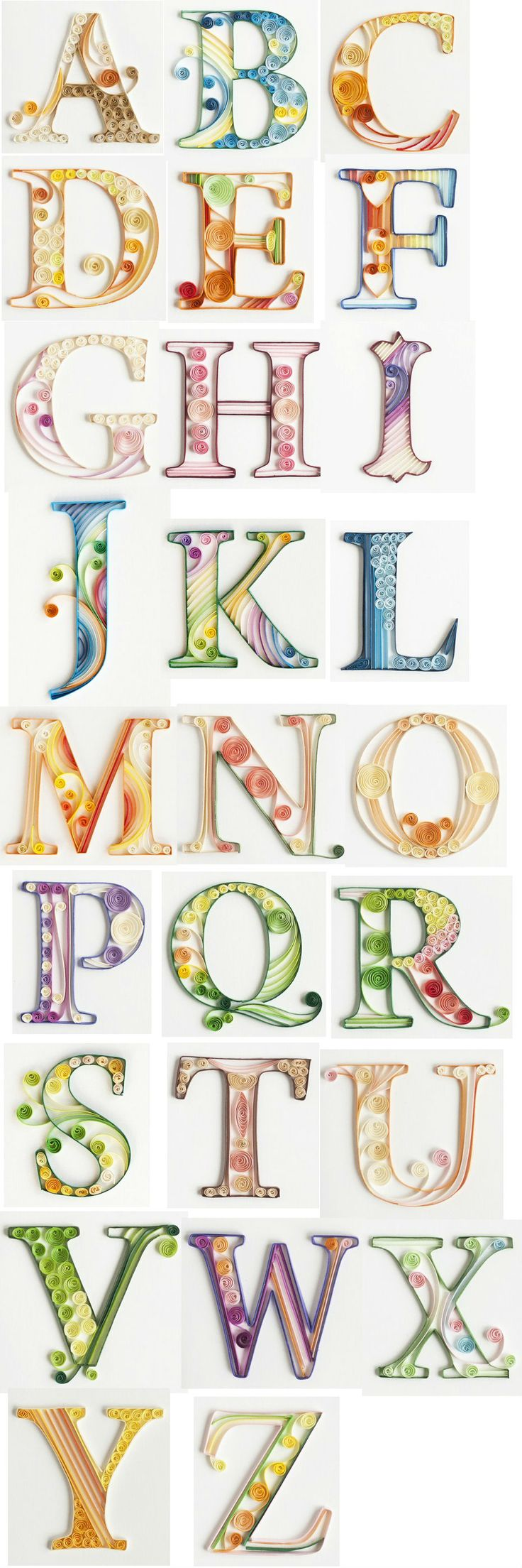Quilled paper alphabet by QuillingCard