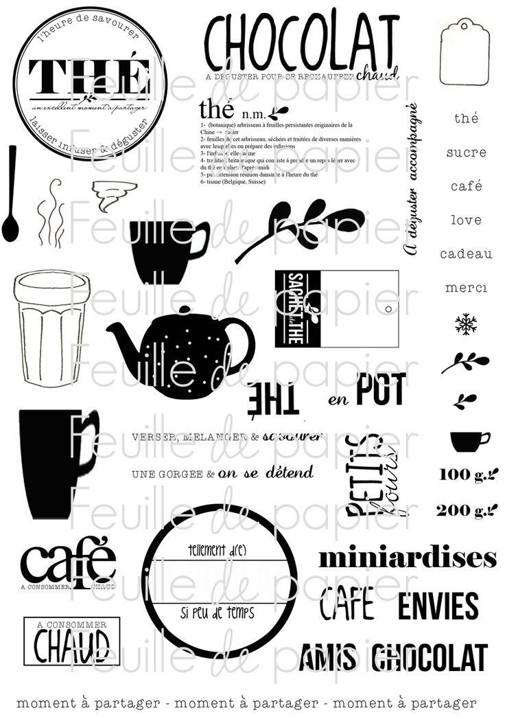 MATERIEL > Tampons > Marie-Laure Bollinger pour Feuille de papier > Collection N° 13 L'heure du Thé - Feuille de papier - Kits en ligne