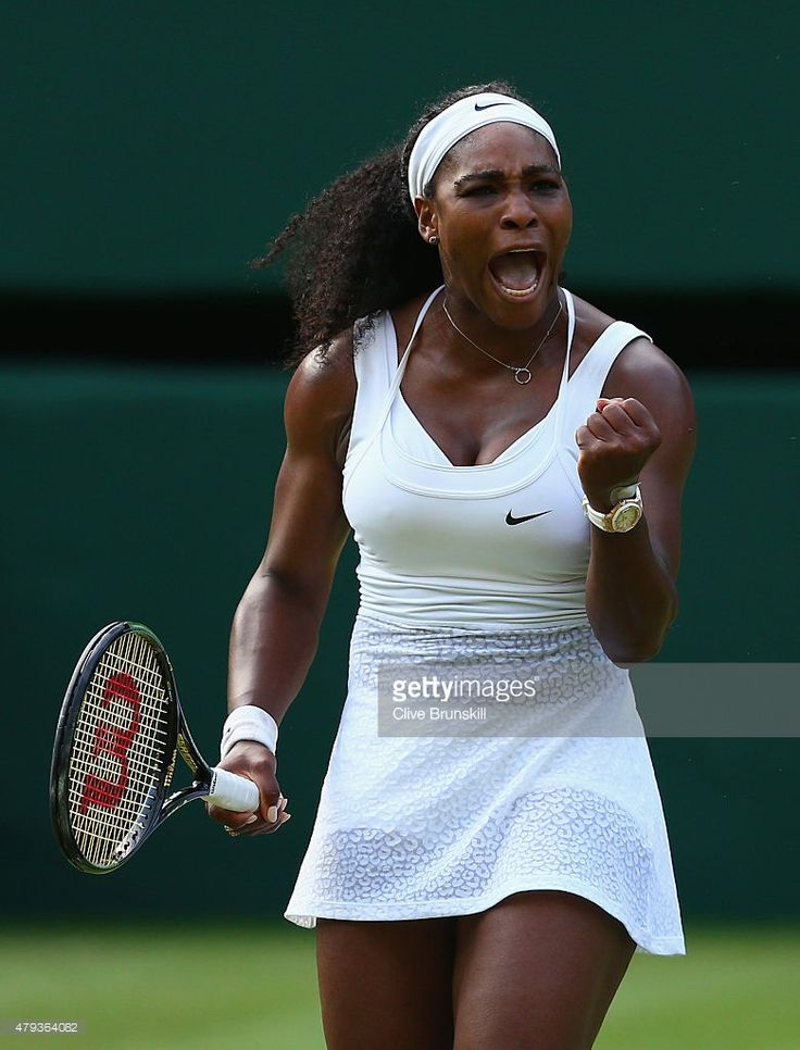 Serena Williams of the United States celebrates a point in her Ladies' Singles Third Round match against Heather Watson of Great Britain during day five of the Wimbledon Lawn Tennis Championships at the All England Lawn Tennis and Croquet Club on July 3, 2015 in London, England.