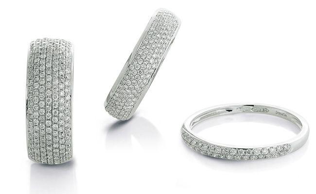 Pavè......anelli in oro bianco e diamanti.  Gioielleria F.lli Cappon Torino