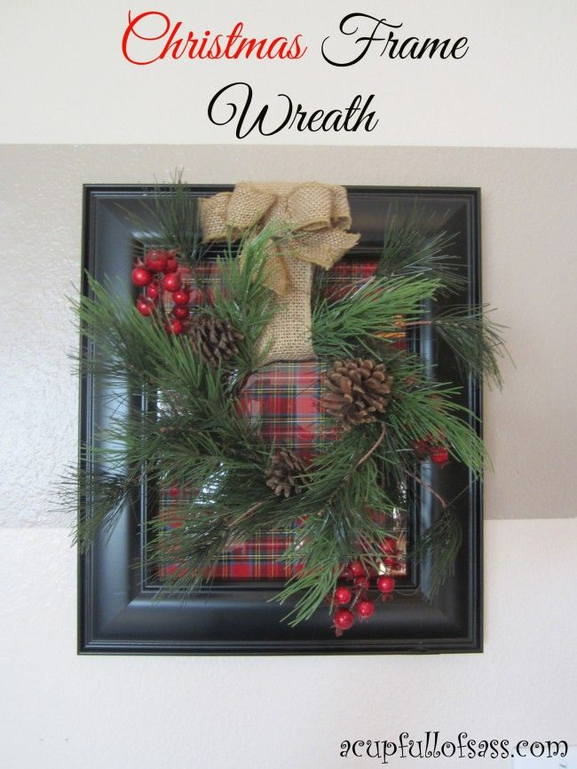 DIY Christmas Frame Wreath. Decorate your home for Christmas with this easy DIY.